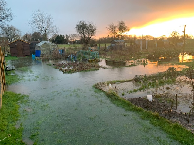 flooding at Scruton allotments 2021